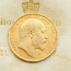 Antique, full sovereign with King Edward V11 head and George & the Dragon, 1907