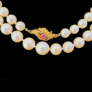 Cultured Saltwater Akoya Pearl necklace on 18ct, 18k, 750 Gold & Ruby clasp 77cm