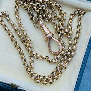 """Edwardian 9ct, 9k, 375 Gold faceted belcher link chain, length 25"""" / 64cm, C1905"""