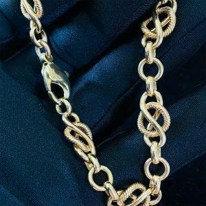 """Vintage 9ct, 9k, 375 Solid Gold, fancy link bracelet, length 8.5 """" / 22cm, 22.4g"""