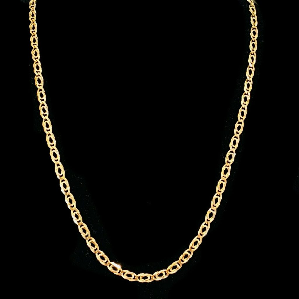 "Vintage 9ct, 9k, 375 Gold fancy link chain, length 23"" / 58.5cm, 18.3 grams"