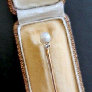 Edwardian 18ct, 18k, 750 Gold old-cut Diamond & Pearl, Stick, tie, cravat pin