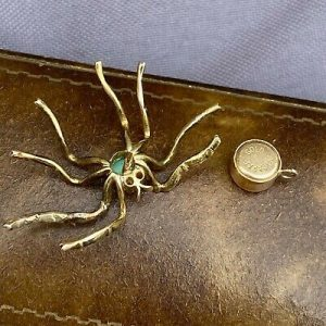 Victorian 9ct, 9k, 375 Gold Turquoise & diamond Spider tie, cravat pin, C1880