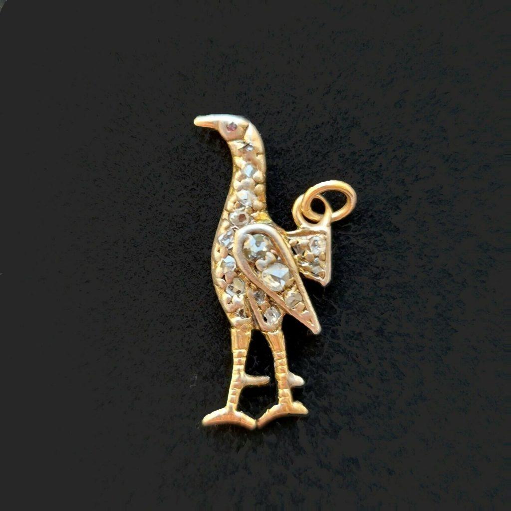 Edwardian 15ct, 15k, 625 Gold rose-cut diamond & ruby Bird, Pheasant Pendant