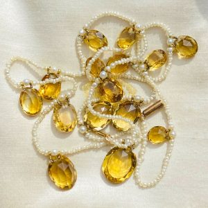 Edwardian Citrine & Natural pearl fringe necklace on 9ct, 9k 375 rose gold clasp