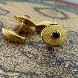 Deakin & Francis 18ct, 18k, 750 gold, enamel and Sapphire cufflinks, 17.7 grams