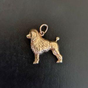 Vintage 9ct, 9k, 375 yellow gold poodle, dog pendant, charm, Birmingham 1966