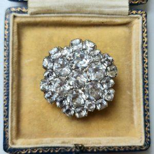 Antique, Georgian Silver, black dot paste, flower brooch, pin, Circa 1800