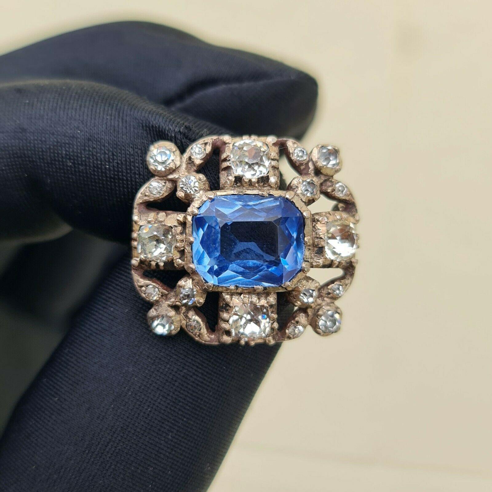 Antique, Georgian Silver, black dot paste & blue glass brooch, pin, Circa 1800