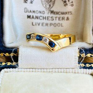 Modern 18ct, 18k, 750 Gold Sapphire & diamond chevron eternity, wedding ring