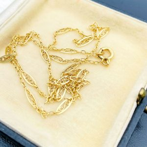 """French, Antique 18ct, 18k, 750 gold, fancy link chain, Length 20"""" / 51cm"""