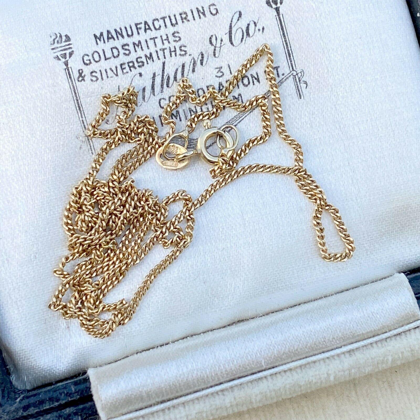 "Vintage 9ct, 9k, 375 Gold curb link chain, length 20"" / 51cm, 2.5 grams"