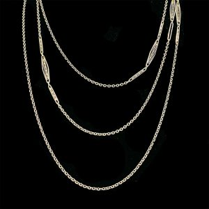 """Antique Sterling Silver muff / guard chain, length 59 """" / 150 cm, weight 18.4g"""