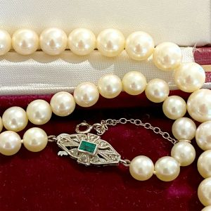 """Cultured Saltwater Pearl necklace on 9ct gold Emerald & diamond clasp 18.5""""/47cm"""