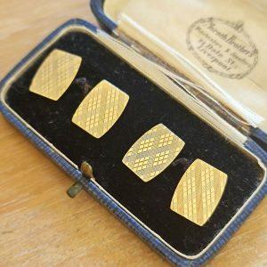 Retro 9ct,9k, 375 Gold engine turned, geometric patterned cufflinks, London 1964
