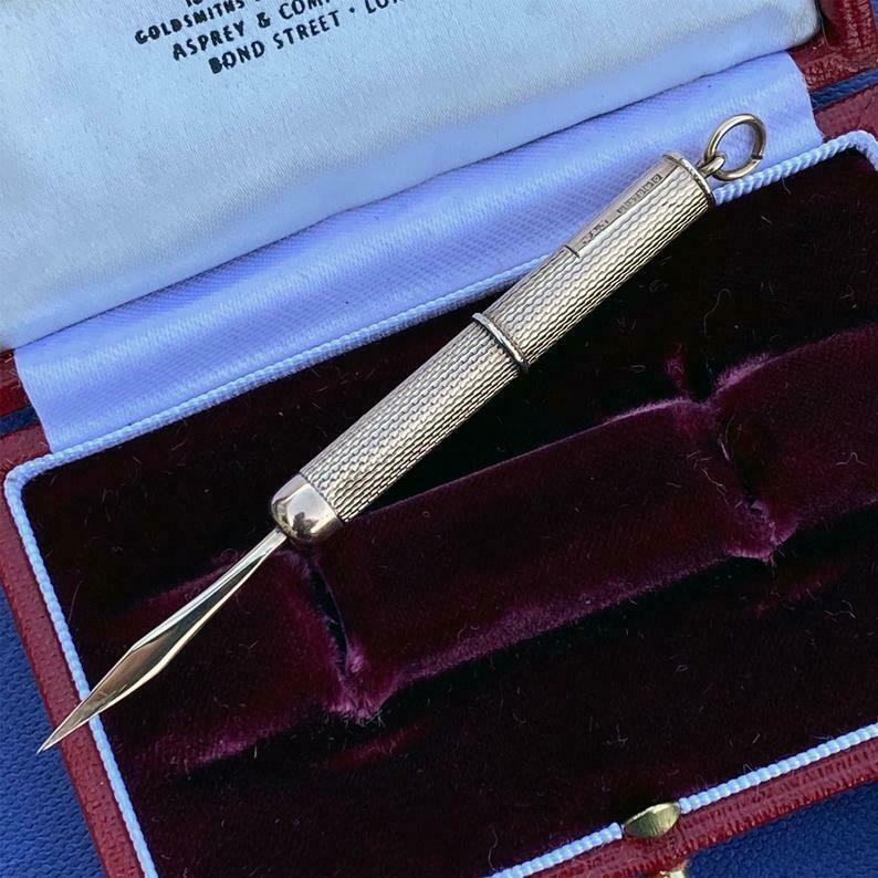 Vintage 9ct, 9k, 375 gold retractable, toothpick, Birmingham 1963, maker V&S