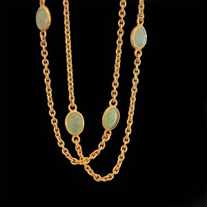 """Classic, 9ct, 9k, 375 Gold and Jade chain necklace, length 24"""" / 61 cm. Date: 1989"""