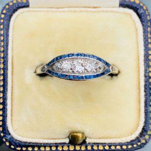 Fine Art Deco Platinum Sapphire and Diamond navette shaped ring, Circa 1920