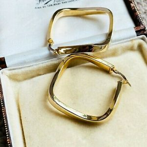 Gorgeous pair of large 9ct, 9k, 375 Gold, square hoop Earrings, 35mm