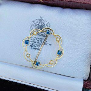 Edwardian, 15ct, 15k, 625 Gold, Pearl and Sapphire circle brooch, Circa 1905