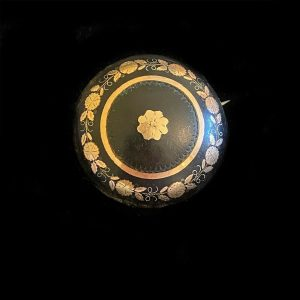 Victorian Gold & Silver inlaid faux Tortoise shell, Pique, brooch, pin, C1880