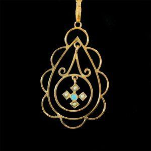Art Nouveau 9ct, 9k, 375 Gold Turquoise & Pearl lavaliere, necklace Circa 1905
