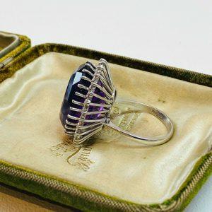 Stunning 18ct/18k, 750 white Gold Amethyst & diamond statement ring, London 1975