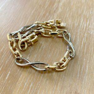 """Vintage, 14ct/14k 585 Gold, two tone fancy link bracelet, Lgth 8.25""""/21cm, 22.2g"""