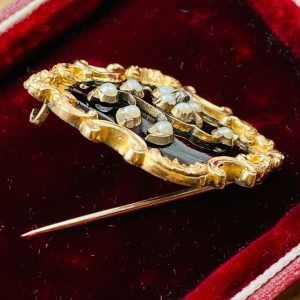 Victorian gold black Enamel, Pearl & Diamond mourning brooch + compartment verso
