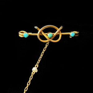 Art Nouveau 14ct Gold Turquoise & Pearl 'lovers knot' and heart, twin brooch