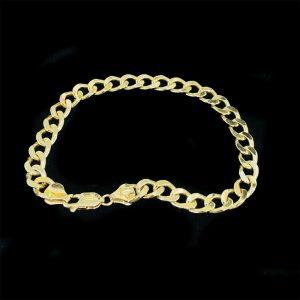 """Gents, 9ct, 9k, 375 Gold, solid curb link bracelet, 8.5 """" / 22cm, Weight 20 gram"""