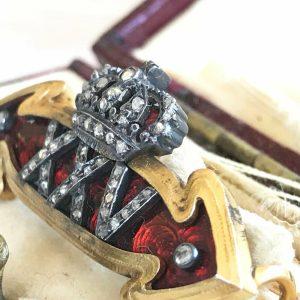Art Deco Gold, Enamel and Diamond arrow and crown XXV brooch, in original box