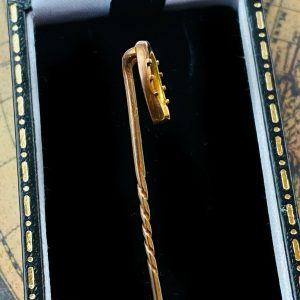 Edwardian 9ct, 9k, 375 Gold Equestrian, Lucky Horseshoe Stick, tie, cravat, stock, lapel pin