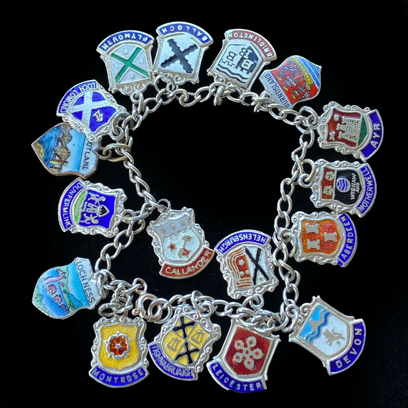 "Vintage, Retro Sterling Silver enamel charm bracelet, length 7.5"" / 19cm"
