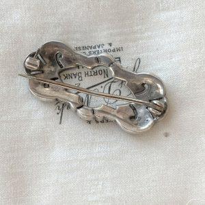 Antique, Victorian Silver, black dot paste brooch, pin, Circa 1860