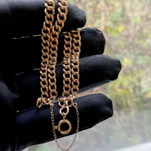 Edwardian 9ct, 9k, 375 Rose Gold double curb link bracelet with bolt ring clasp