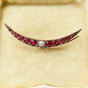 Edwardian 9ct Gold synthetic Ruby, Pearl & rose-cut Diamond Crescent moon brooch