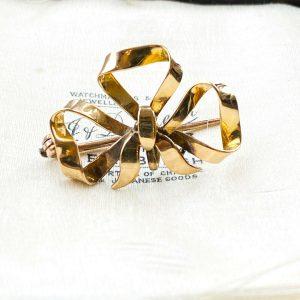 Art Nouveau, Victorian 15ct, 15k, 625 Gold, bow brooch, fob watch holder, C1895