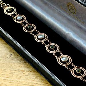 "Art Nouveau 9ct, 9k, 375 Rose Gold Peridot & Pearl bracelet, 7.5"" / 19.5cm"