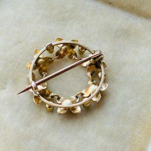 Art Nouveau 15ct, 15k, 625 Gold Turquoise, Pearl circle brooch, pin, Circa 1895