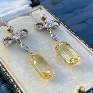 Antique, 18ct, 18k, 750 Gold & Silver, Citrine and Diamond drop / dangle earring