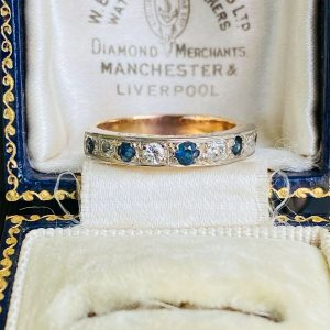 Vintage 18ct, 18k, 750 rose gold Sapphire & Diamond Eternity, anniversary Ring