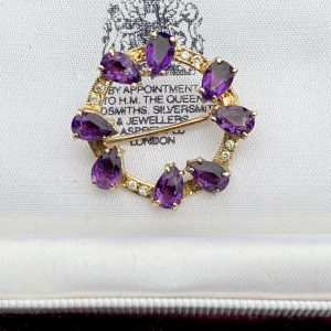 Vintage, 9ct, 9k, 375 Gold Amethyst and diamond circle brooch pin, Dated: 1985