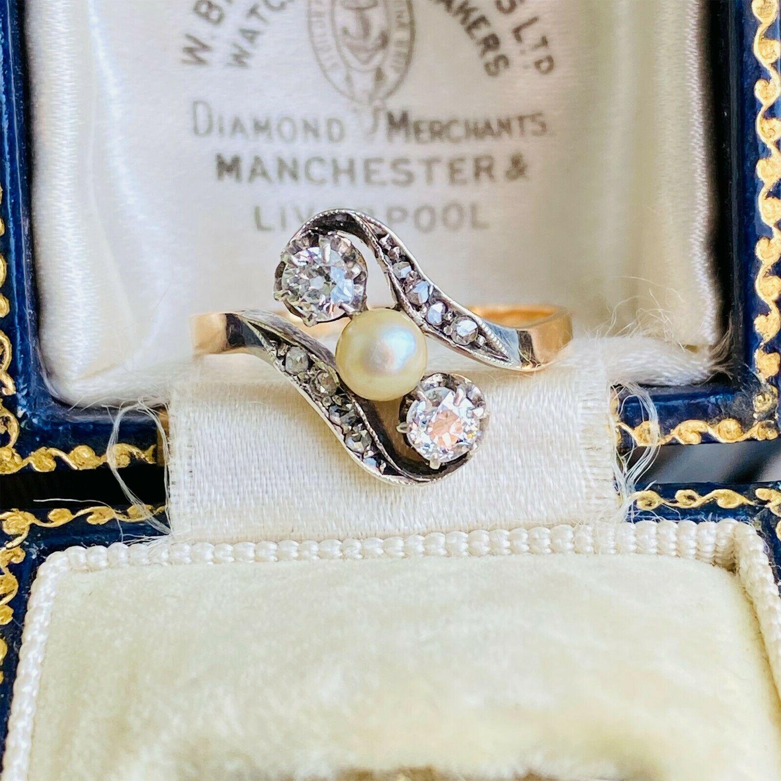 Belle Epoque 18ct 18k, 750 rose Gold Pearl & Rose-cut Diamond twist 3-stone ring