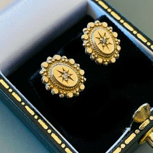 Victorian, Etruscan style Diamond star earrings with post & scroll fittings 1902