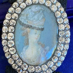 Georgian, black-dot white paste, minature portrait of Marie Antoinette bracelet