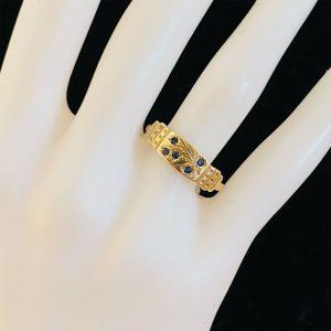 Pretty, Vintage 9ct, 9k, 375 Yellow Gold Sapphire dress ring