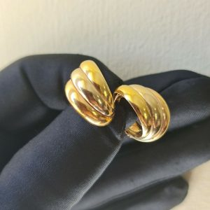 Gorgeous pair of 18ct, 18k, 750 tri-colour Gold, hoop Earrings, 20x17mm