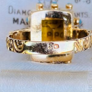Mid-century 19.2 K, 19.2ct, 800 Gold, Citrine & Turquoise statement ring