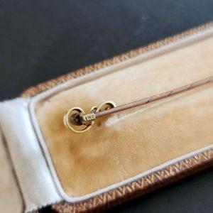 Edwardian 15ct, 15k, 625 Gold old-cut Diamond, 'question mark' stick, tie pin